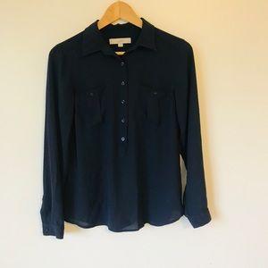 Loft Navy 3/4 Button Down Shirt XS